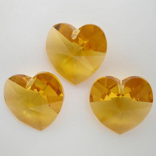Swarovski 6228 18mm Xilion Heart Pendants Topaz  (3 pieces)