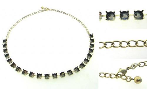 Swarovski 1088 39ss (~8.5mm) 22 Empty Round Stone Setting Necklace (Brass) (1  piece)