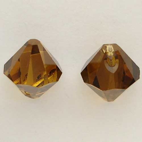 Swarovski 6328 8mm Top-drilled Bicone Topaz Satin