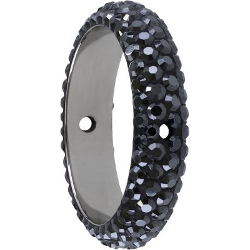 Swarovski 85001 18.5mm BeCharmed Pave Thread Ring Jet Hematite (6 pieces )