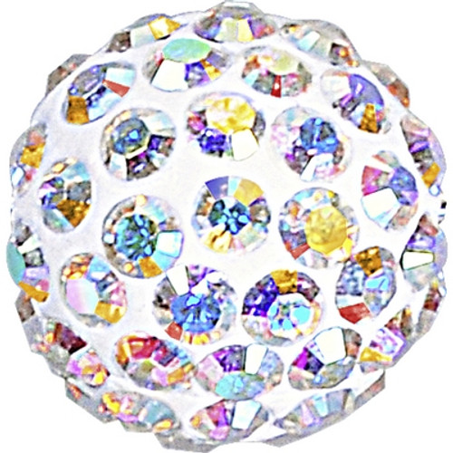 Swarovski 86001 6mm Pave Ball Bead w/ Crystal AB Chatons on White base (12 pieces). The AB coating, which stands for Aurora Borealis, adds a highly iridescent effect over half of the Swarovski Pave Ball Crystal Bead that increases the brilliance and shine with shimmering tints of yellow, pink and blue sparkle. Swarovski Crystal Beads express exquisite elegance, perfection and grandeur. Stylish and sophisticated, SWAROVSKI ELEMENTS highlight an impeccable legacy of distinction and innovation.