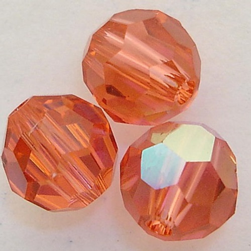 On Hand: Swarovski 5000 4mm Round Beads Padparadscha AB  (72 pieces)