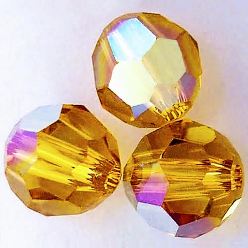 On Hand: Swarovski 5000 4mm Round Beads Topaz AB  (72 pieces)