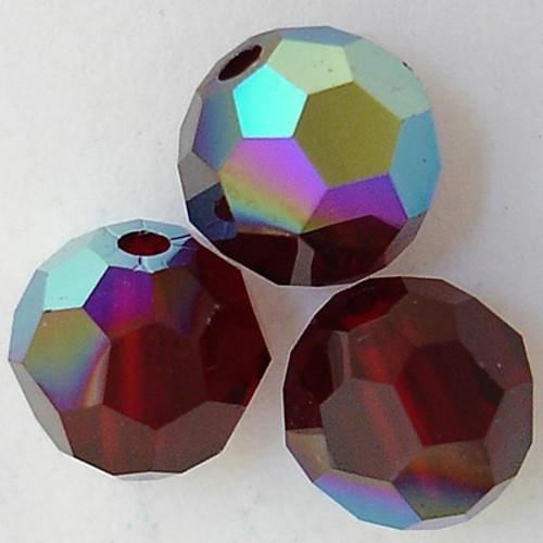 On Hand: Swarovski 5000 7mm Round Beads Garnet AB   (12 pieces)