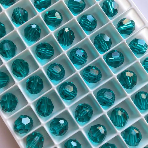 On Hand: Swarovski 5000 8mm Round Beads Blue Zircon  (12 pieces)