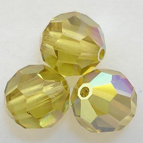 On Hand: Swarovski 5000 8mm Round Beads Lime AB  (12 pieces)