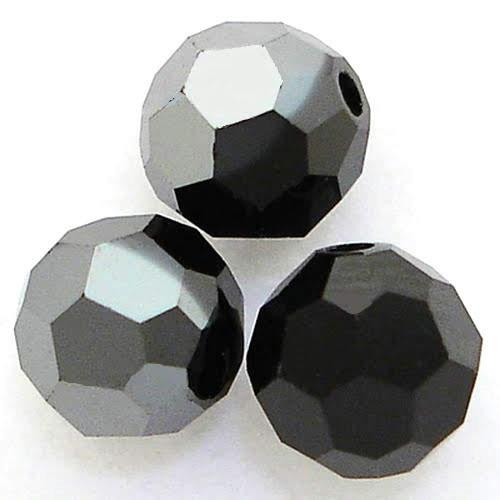 On Hand: Swarovski 5000 9mm Round Beads Jet Hematite  (12 pieces)