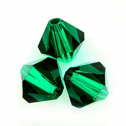 On Hand: Swarovski 5328 4mm Xilion Bicone Beads Emerald   (72 pieces)