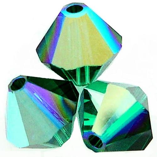 Swarovski 5328 4mm Xilion Bicone Beads Emerald AB