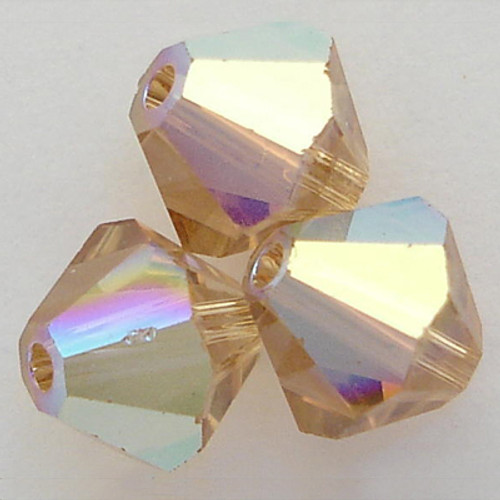 Swarovski 5328 4mm Xilion Bicone Beads Light Colorado Topaz AB