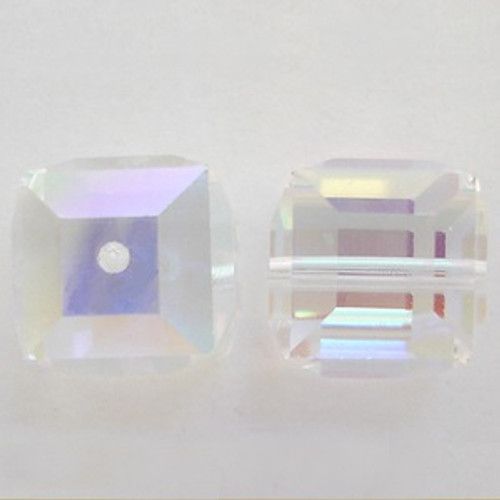Swarovski 5601 10mm Cube Beads Crystal AB