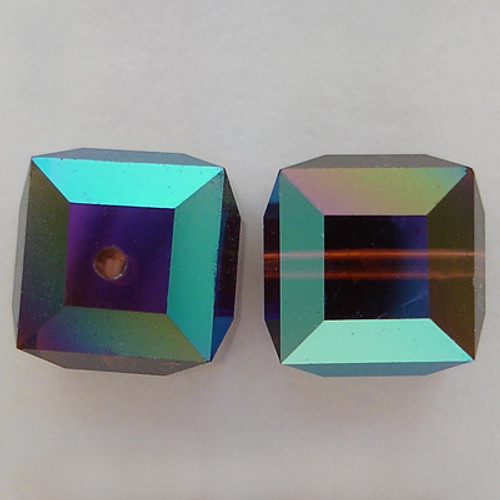 Swarovski 5601 4mm Cube Beads Burgundy AB