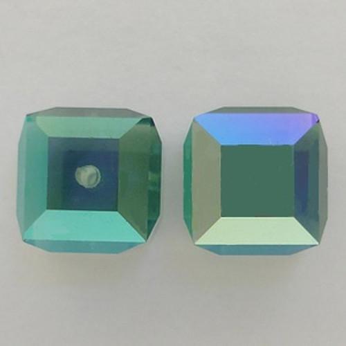 Swarovski 5601 6mm Cube Beads Erinite AB