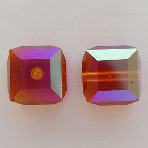 Swarovski 5601 6mm Cube Beads Indian Red AB