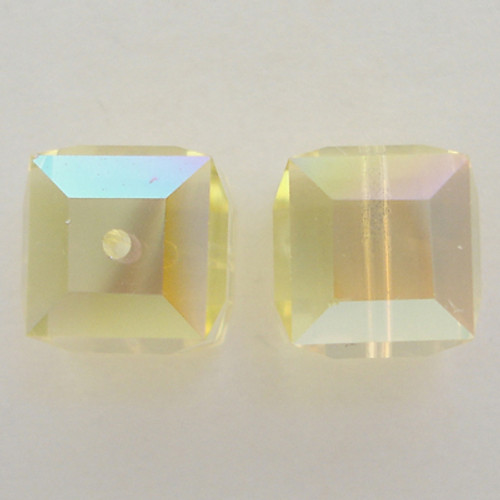Swarovski 5601 6mm Cube Beads Jonquil AB