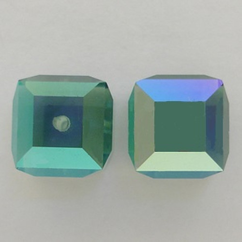 Swarovski 5601 8mm Cube Beads Erinite AB