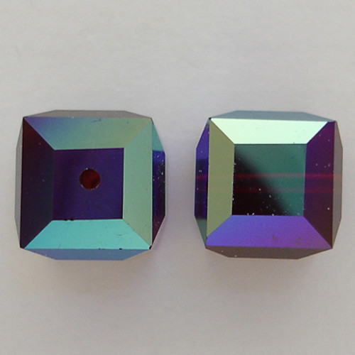 Swarovski 5601 8mm Cube Beads Garnet AB