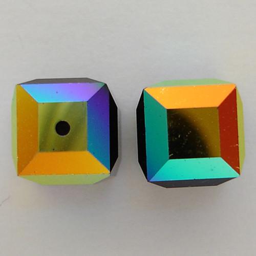 Swarovski 5601 8mm Cube Beads Jet AB