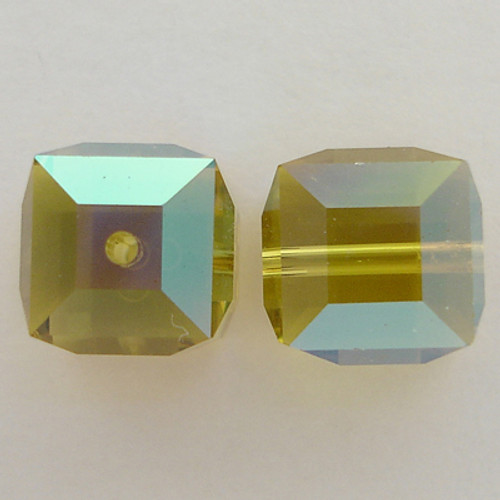 Swarovski 5601 8mm Cube Beads Lime AB