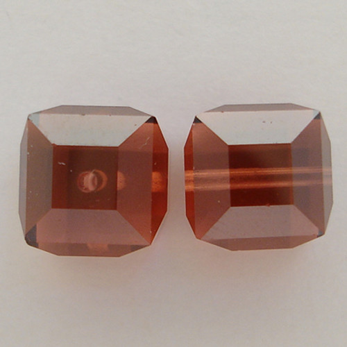 Swarovski 5601 8mm Cube Beads Padparadscha Satin