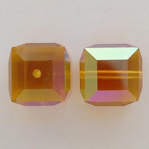 Swarovski 5601 8mm Cube Beads Topaz AB