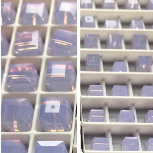 On Hand: Swarovski 5601 8mm Cube Beads Violet Opal   (6 pieces)
