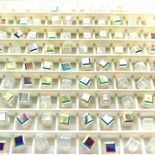 On Hand: Swarovski 5601 8mm Cube Beads White Opal AB   (6 pieces)