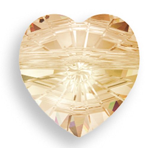 Swarovski 5742 14mm Heart Beads Crystal Golden Shadow