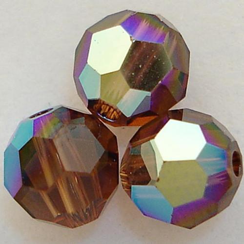Swarovski 5000 4mm Round Beads Smoked Topaz AB  (72 pieces)
