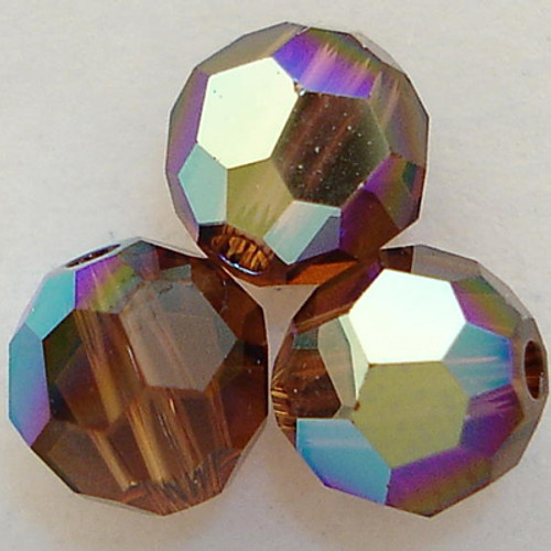 On Hand: Swarovski 5000 4mm Round Beads Smoked Topaz AB  (72 pieces)