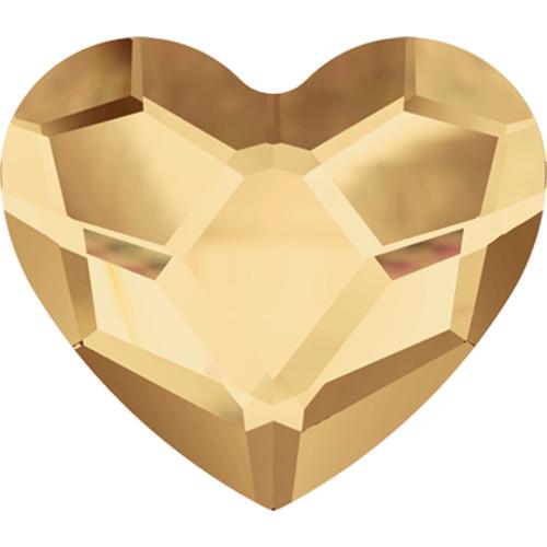 2808 Heart Flatbacks 3.6mm Crystal Golden Shadow