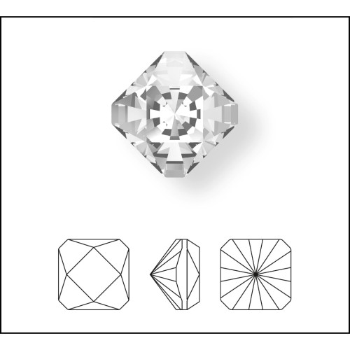 4499 Kaleidoscope Square Fancy Stones 20mm Crystal Silver Night