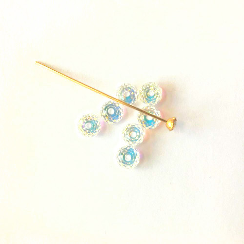 On Hand: Swarovski Kit 5040 6mm Rondelle Beads Crystal AB  (7 pieces) with 1 Gold Crystal Headpin
