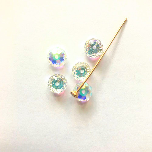 On Hand: Swarovski Kit 5040 8mm Rondelle Beads Crystal AB  (5 pieces) with 1 Gold Crystal Headpin