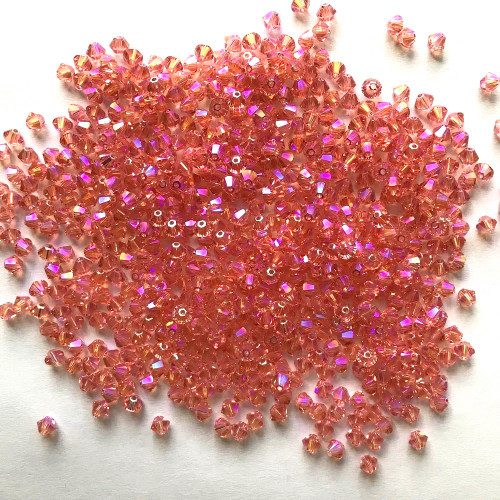 On Hand: Swarovski 5328 4mm Xilion Bicone Beads Rose Peach Shimmer 2X   (72 pieces)