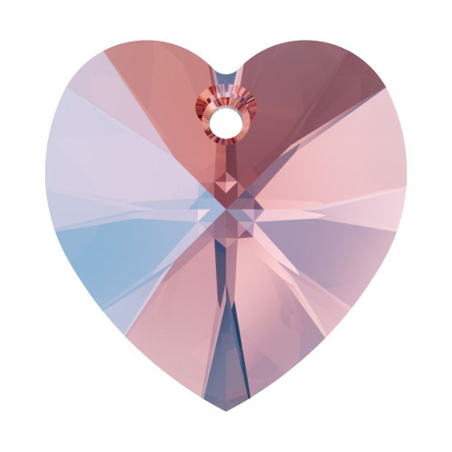 Swarovski 6228 14mm Xilion Heart Pendants Rose Peach Shimmer