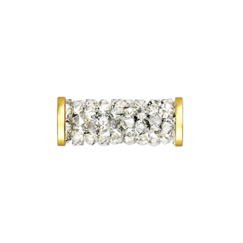 Swarovski 5950 15mm Fine Rocks Tube Beads Gold Toned Stainless Steel End Caps Crystal Moonlight (10 pieces)
