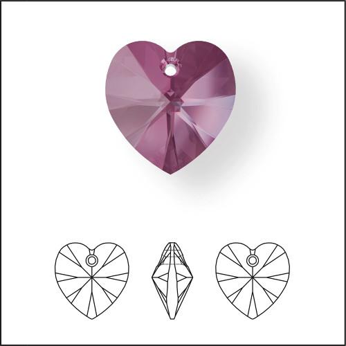 Swarovski 6228 14mm Xilion Heart Pendants Iris