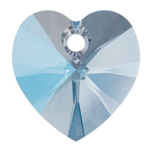Swarovski 6228 10mm Xilion Heart Pendants Aquamarine Shimmer