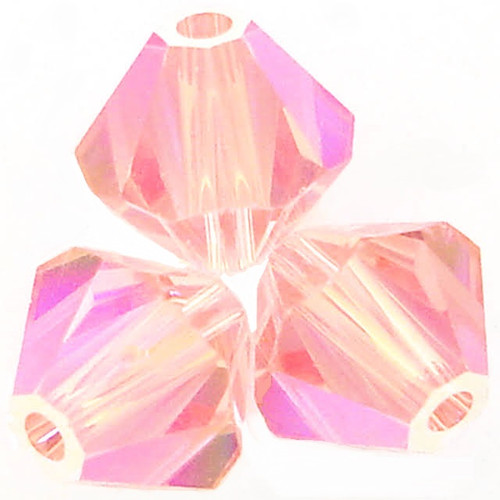 Swarovski 5328 4mm Xilion Bicone Beads Light Rose Shimmer 2X