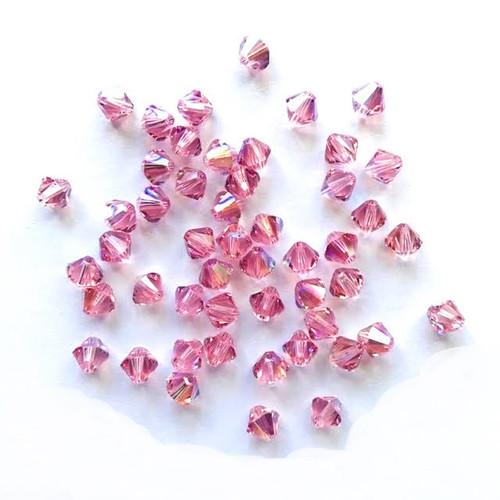 Swarovski 5328 4mm Xilion Bicone Beads Light Rose Shimmer  (72 pieces)