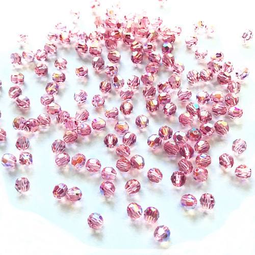 On Hand: Swarovski 5000 4mm Round Beads Light Rose Shimmer  (72 pieces)