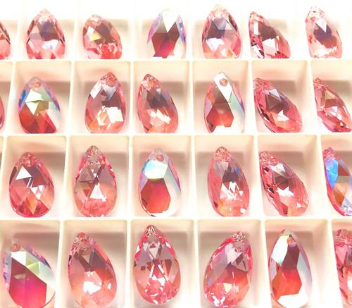 Swarovski  6106 16mm Pearshape Pendants Light Rose Shimmer (6 pieces)