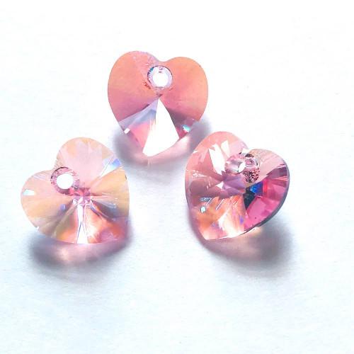 Swarovski  6228 10mm Xillion Heart Pendants Light Rose Shimmer (18 pieces)