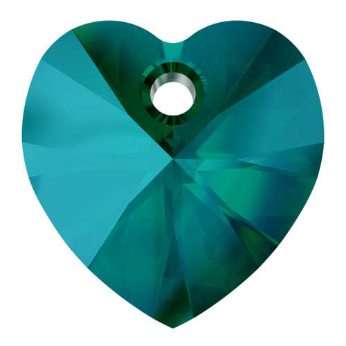 Swarovski  6228 18mm Xillion Heart Pendants Emerald Shimmer