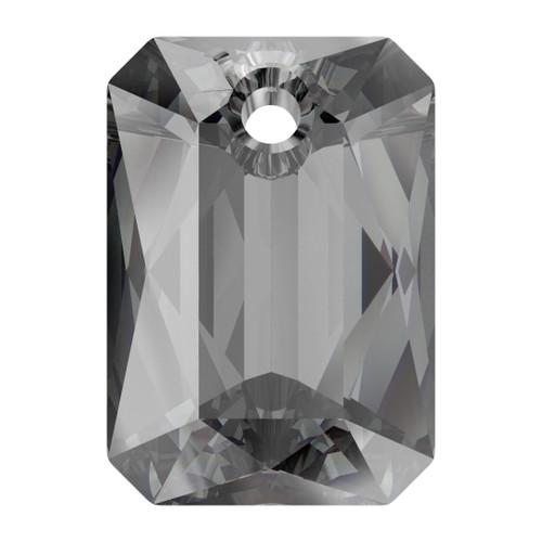 Swarovski  6435 16mm Emerald Cut Pendants Crystal Silver Night