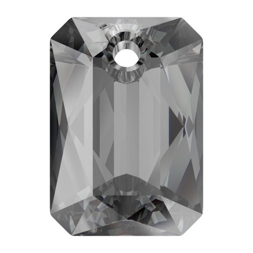 Swarovski  6435 9mm Emerald Cut Pendants Crystal Silver Night