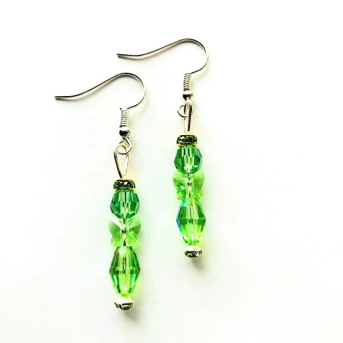 Swarovski Crystal Angel Earring Kit - Peridot (1 pair of earrings) - A Perfect Christmas Gift!
