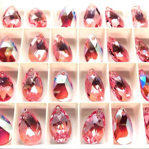On Hand: Swarovski  6106 16mm Pearshape Pendants Light Rose Shimmer (6 pieces)