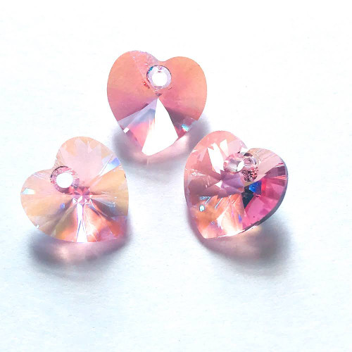 On Hand: Swarovski  6228 10mm Xillion Heart Pendants Light Rose Shimmer (18 pieces)